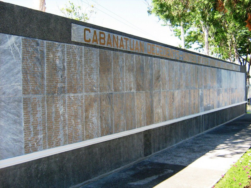 Memorial wall on the left
