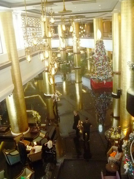 The impressive lobby with its gold leaf-covered columns