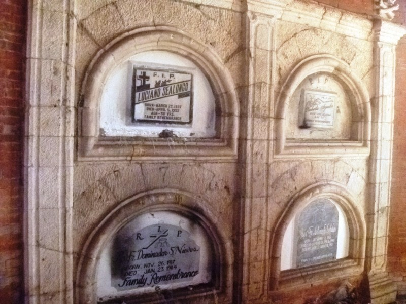 Burial niches inside chapel