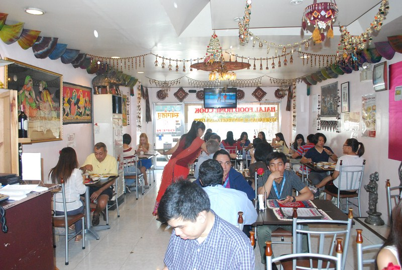 The restaurant's Indian-themed interior
