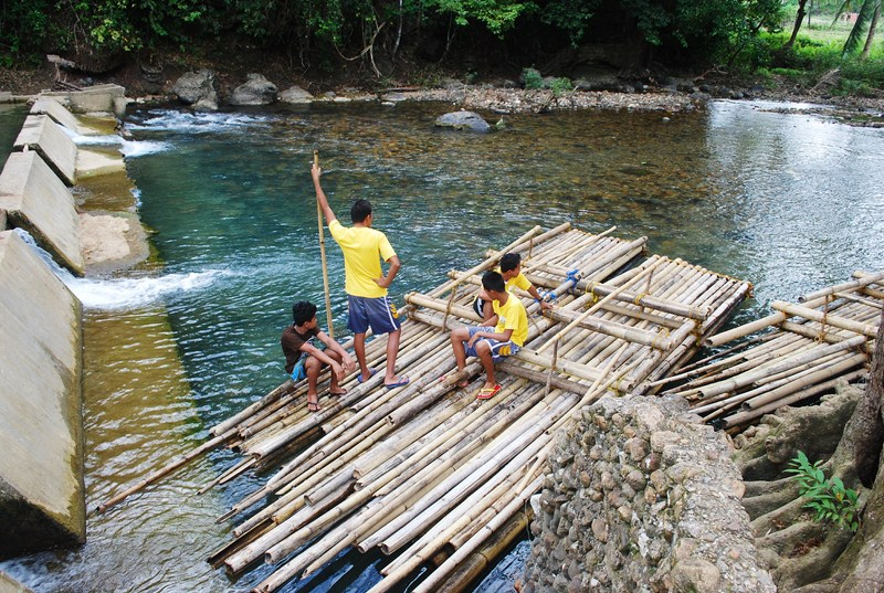 The bamboo rafts waiting for us at the dam