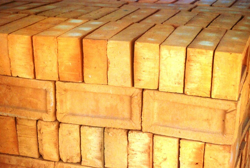 A stack of finished bricks