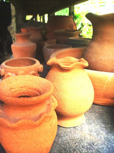 A row of finished pottery