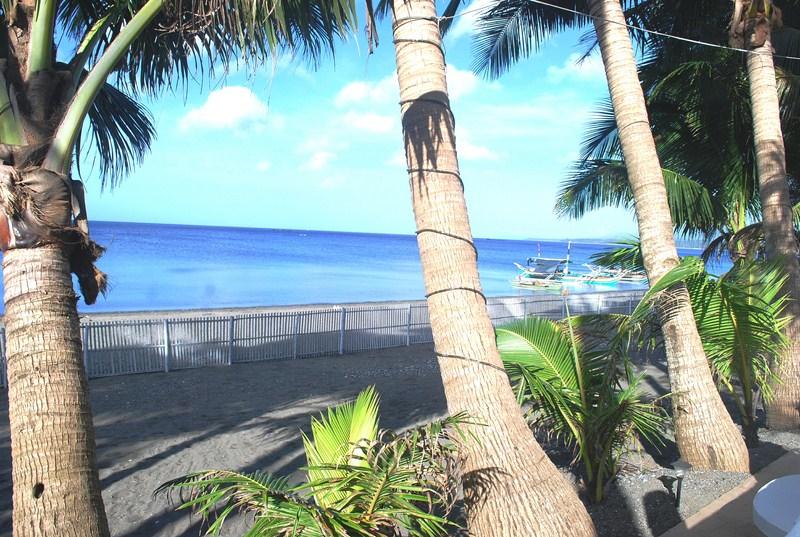 The private beach area