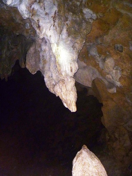 A stalactite and stalagmite bout to meet (in a million years) to form a column