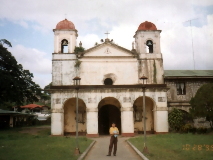 Jandy in front of the Chapel of Our Lady of Caysasay