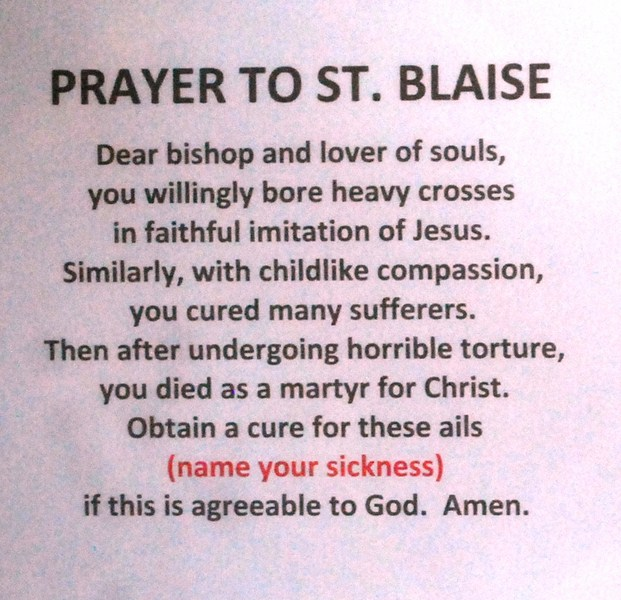 The prayer to St. Blaise