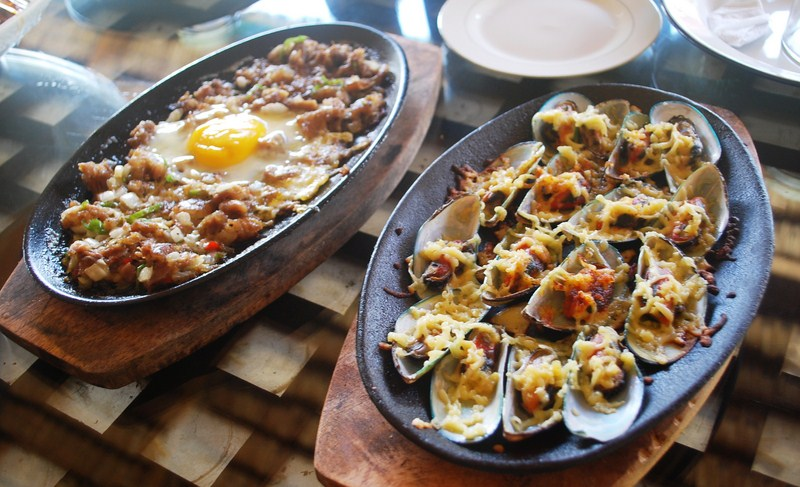 Pork sisig and baked tahong