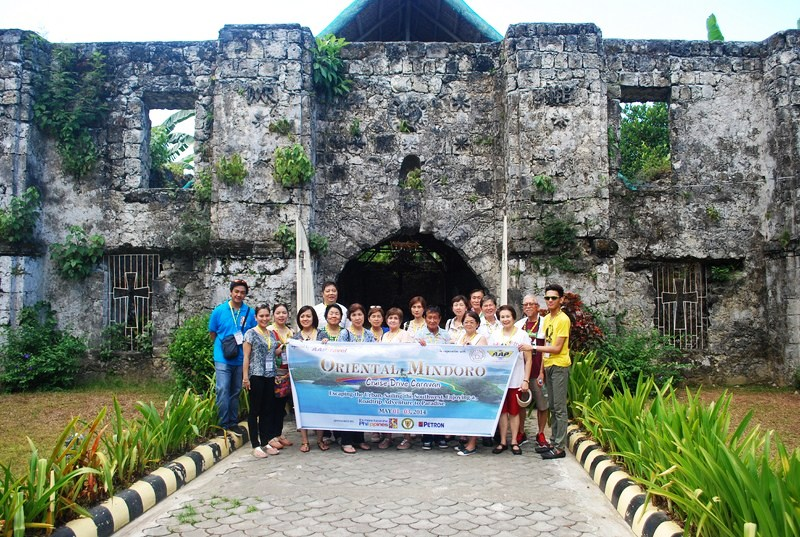 Oriental Mindoro Cruise Drive Caravan participants at church entrance