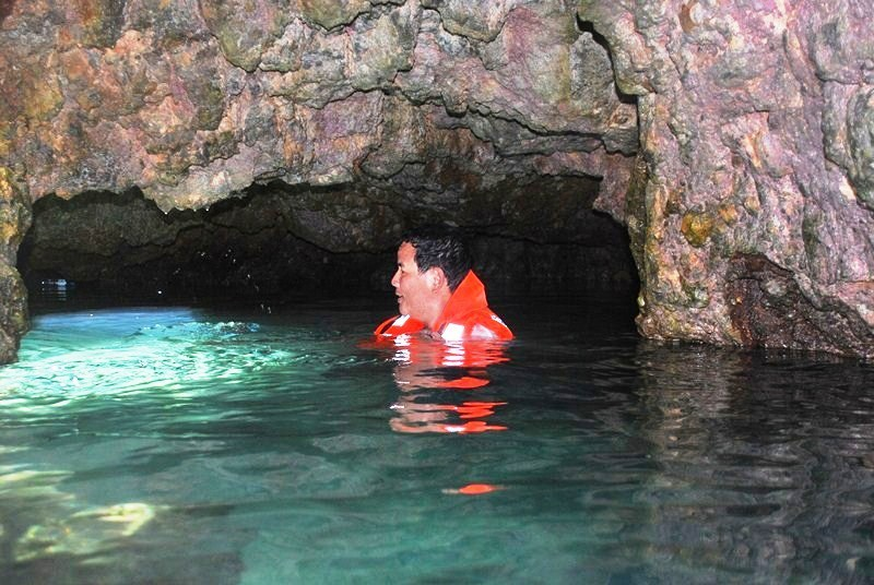 The author inside the underwater cave