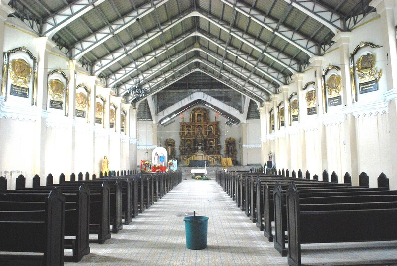 The partially repaired cathedral interior