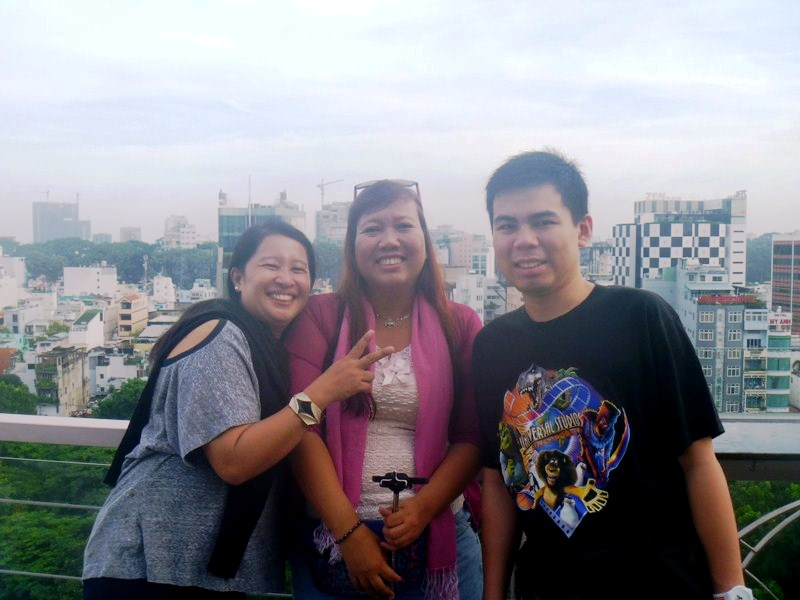 Osang, Violet and Jandt at roof deck terrace