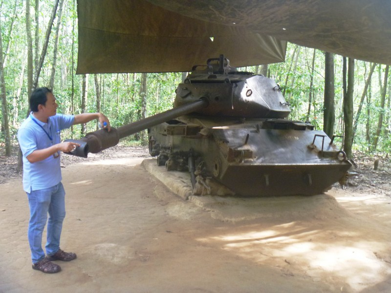 The destroyed American M-41 tank