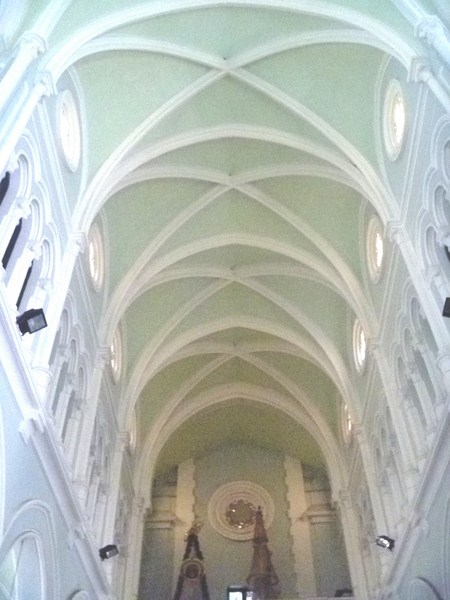 The vaulted ceiling of the nave