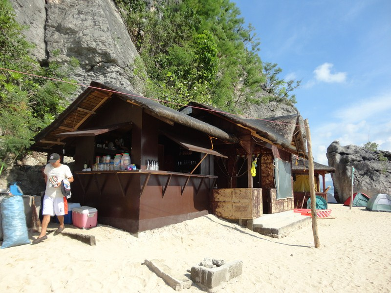 A small store selling food and drinks and renting out tents