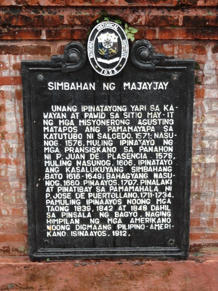 The plaque installed by the National Historical Institute (NHI)