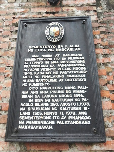 Plaque installed by National Historical Institute (NHI)