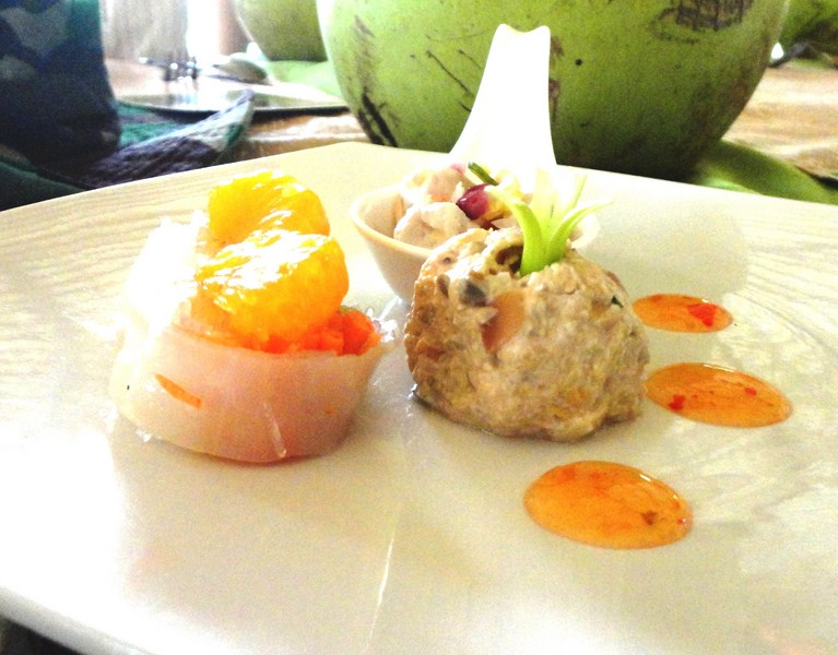 Appetizers – fish kinilaw, puso salad and summer rolls