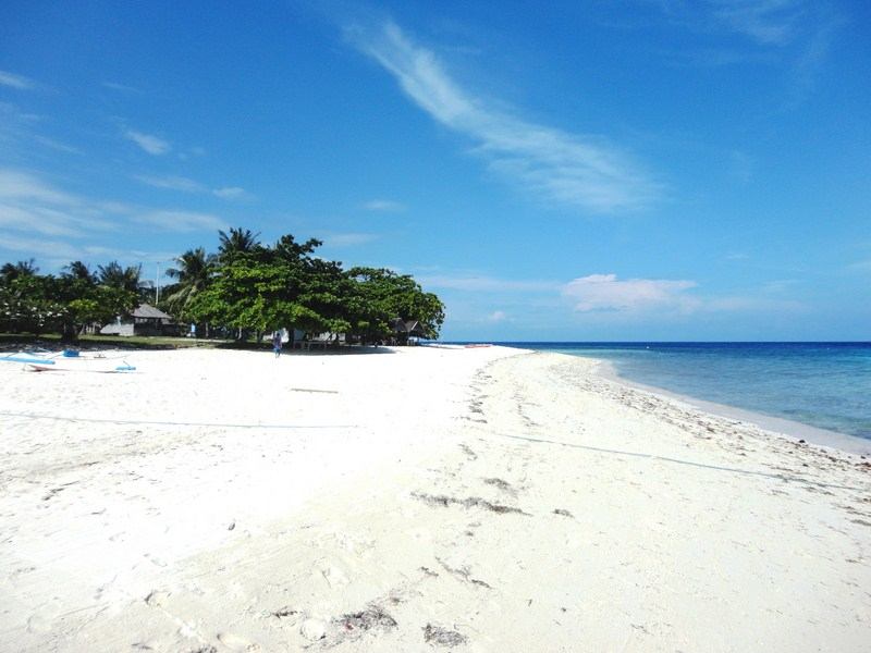 The island's immaculately white sand beach
