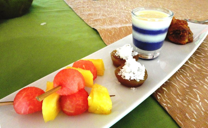 Fruit skewers, puto cuchinta, ube pannacotta, banancue