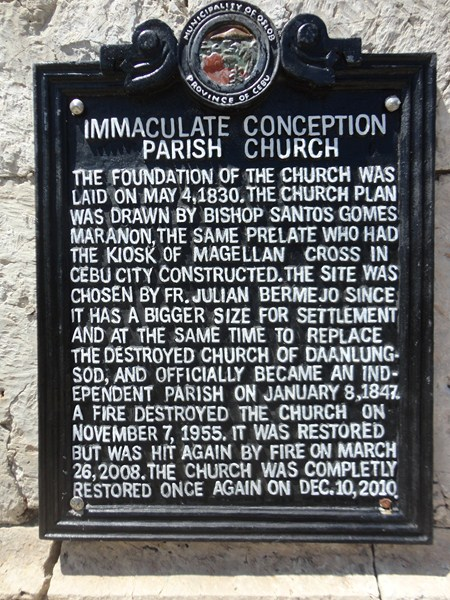 The church's historical plaque