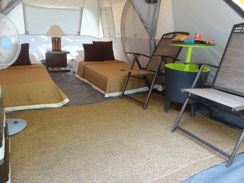 A furnished glamping tent