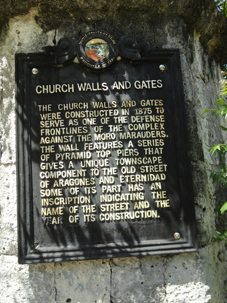 Historical plaque of church walls and gates
