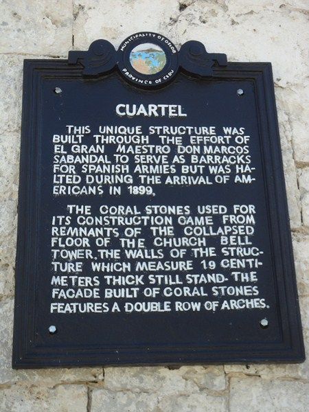 Historical plaque of cuartel
