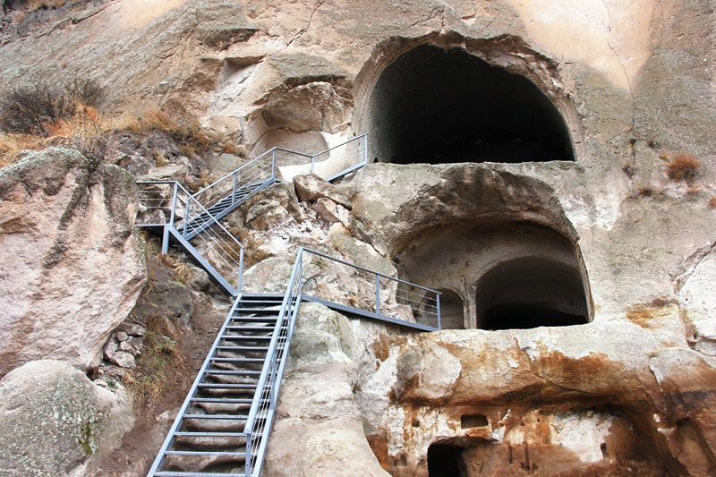 Steel ladders facilitate access to caves