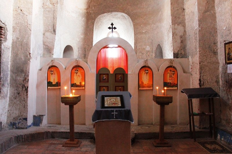 The simple church interior