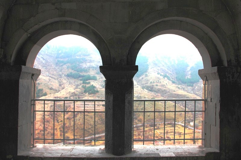 View of the valley from the 2-arch portico of the Church of the Dormition