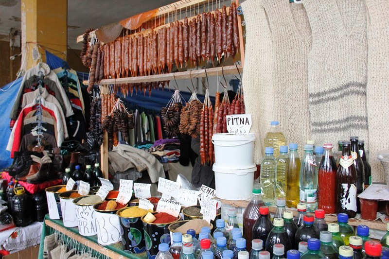 An array of products sold at the market