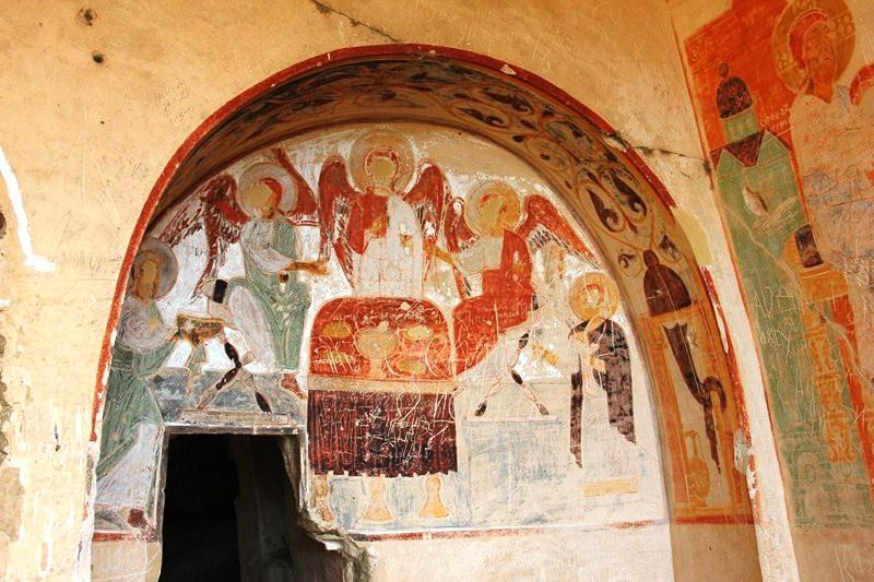 A fresco-adorned niche