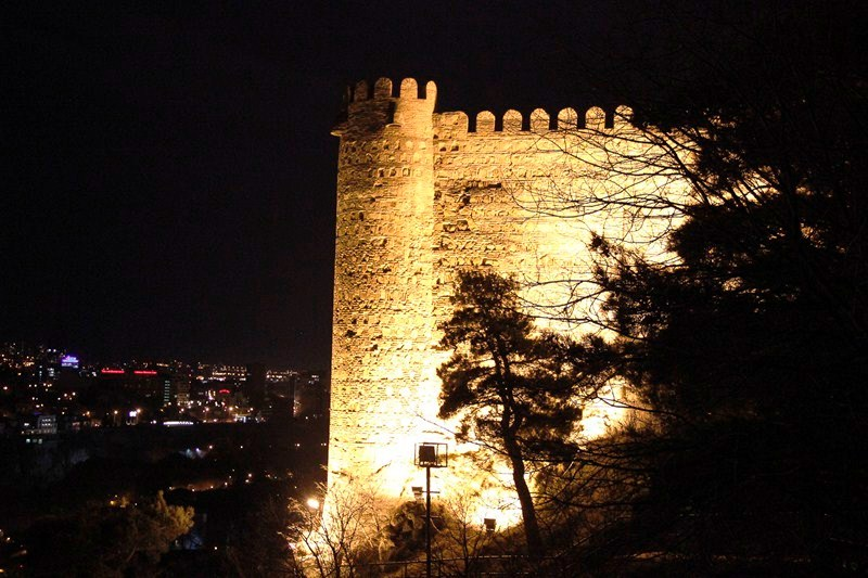 Narikala Fortress beautifully lit at night