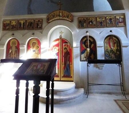 The modest interior of Lavra Monastery's chapel