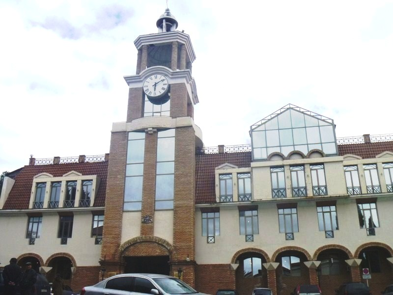 The town hall with its distinctive clock tower
