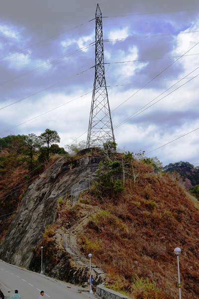 Transmission towers bring power from the dam to the Luzon grid