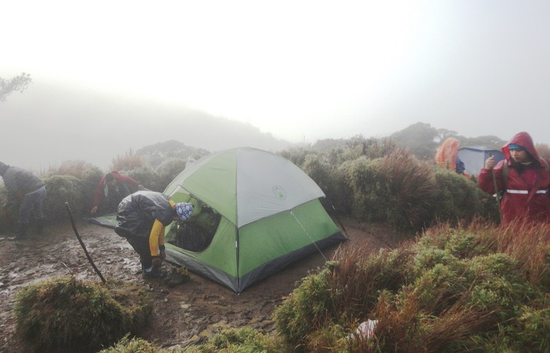 Muck, fog and rain at Camp 2