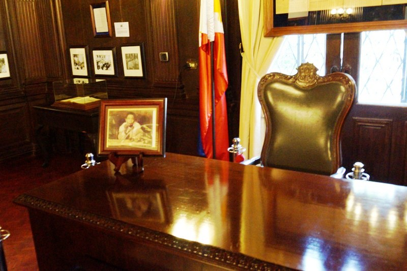 The desk used by Pres. Ferdinand E. Marcos when, on September 21, 1972, he announced Proclamation No. 1081 declaring Martial Law