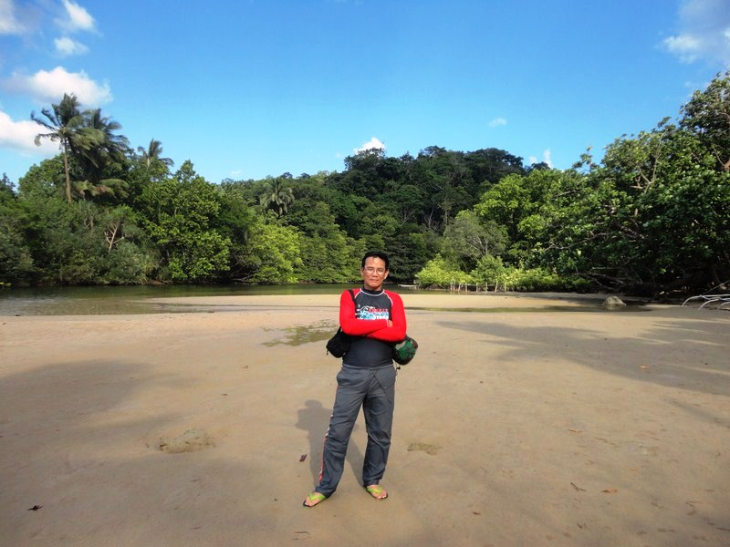 The author at the mouth of the Sabang River - another adventure begins here
