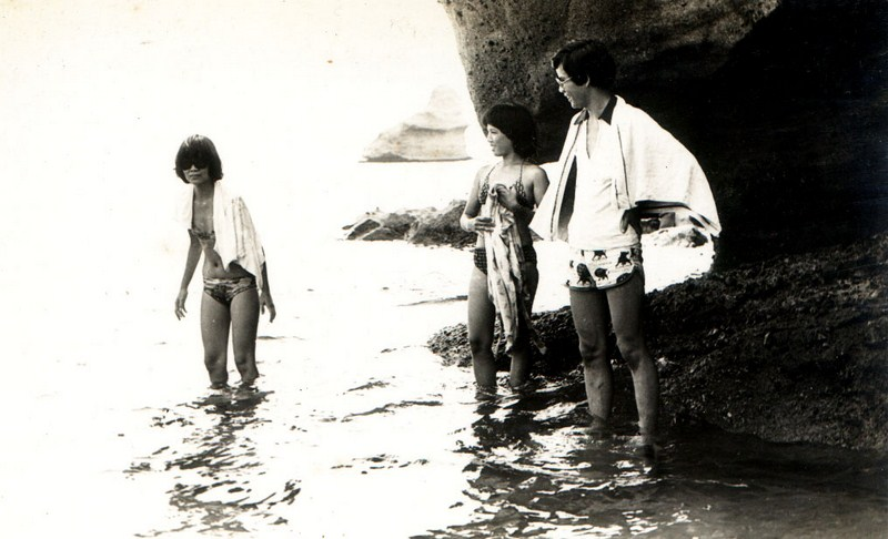 Author (right) with sisters Tellie and Salve.  In the background is Payong-Payong Point
