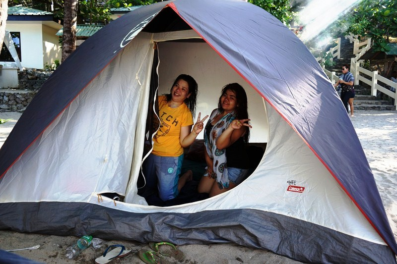 Melissa and Almira inside our Coleman tent