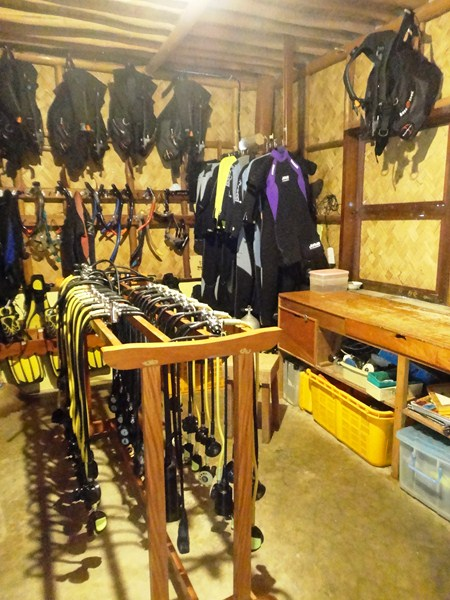 The fully-equipped dive shop