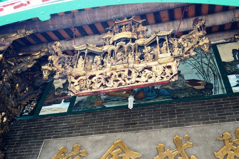 Wooden model of a Chinese theater