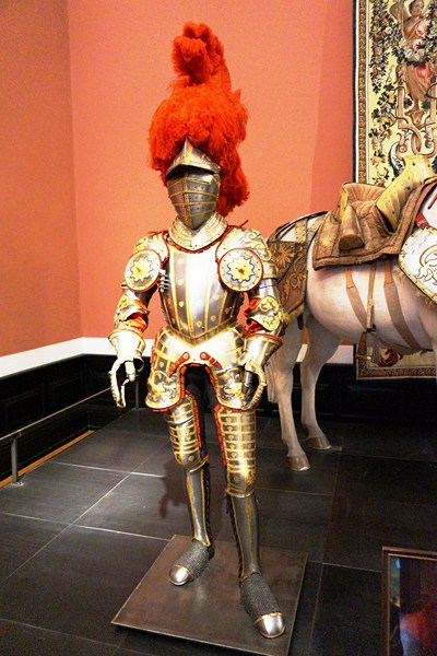 A gaudy and colorful suit of armor