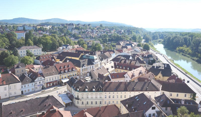 View of the town of Melk from the terrace
