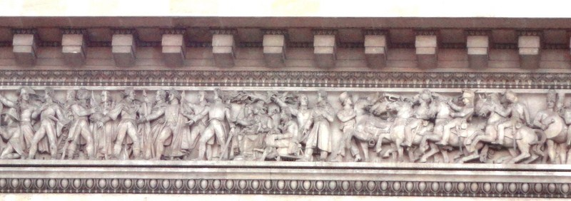 Richly sculptured frieze of soldiers