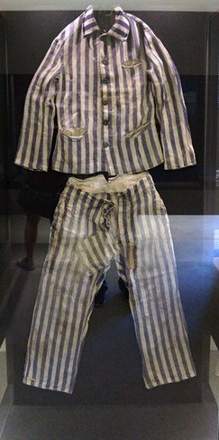 Typical striped concentration camp inmate clothes