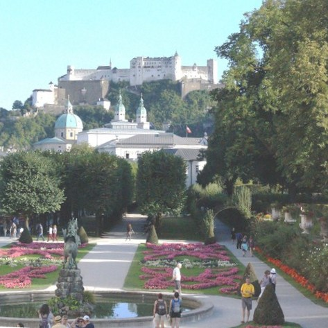 View, from Rose Hill, of the Small Parterre,  Salzburger Dom and Hohensalzburg Fortress