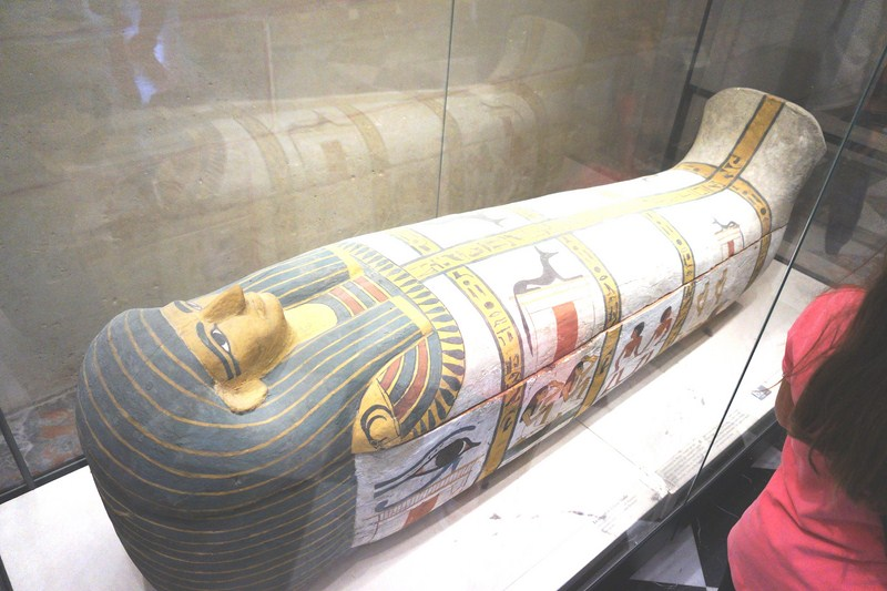 Well Painted Coffin of the Lady of Madjadiscovered in a cemetery in West Thebes overlooking the valley of Deir el-Medina, behind the hill of Qurnet Mourai